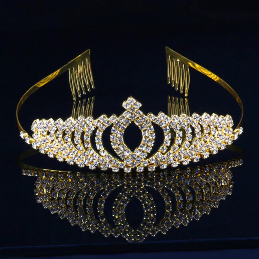 Elegante Goudkleurige Fonkelende Tiara / Kroon-1