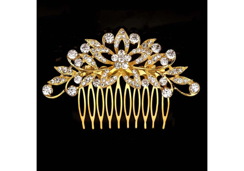 Luxe Goudkleurige Haarkam bezet met fonkelende Kristallen