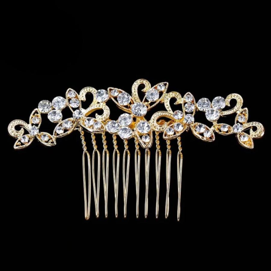 Goudkleurige Haarkam bezet met fonkelende Kristallen-1