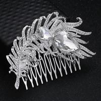 thumb-PaCaZa - Elegante Zilverkleurige Haarkam Veer-2