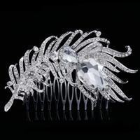 thumb-PaCaZa - Elegante Zilverkleurige Haarkam Veer-1