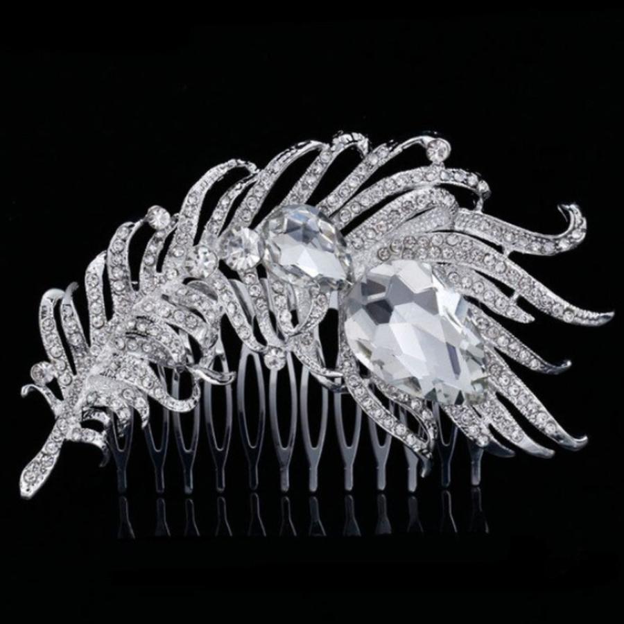 PaCaZa - Elegante Zilverkleurige Haarkam Veer-1