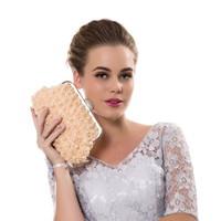 thumb-Chique Bruidstasje met Roosjes en Parels - Clutch - Champagne-2