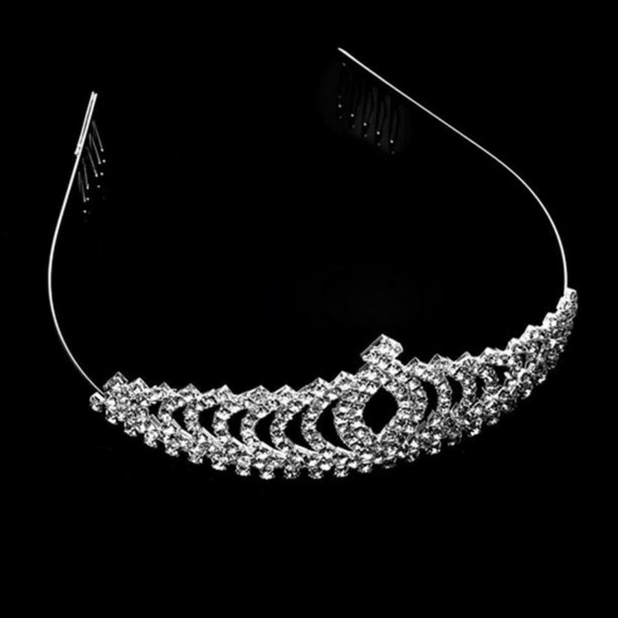 Elegante Fonkelende Tiara / Kroon-3