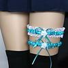 PaCaZa Kousenband - 2 stuks - Wit en Licht Blauw met Bloemetje