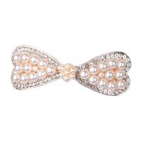 Haarclip met Ivoorkleurige Parels en Fonkelende Diamanten - Rosékleurig