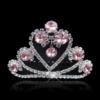 PaCaZa Fonkelende Tiara Kam met Roze Clear Kristallen - Hart