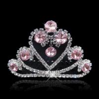 Fonkelende Tiara Kam met Roze Clear Kristallen - Hart