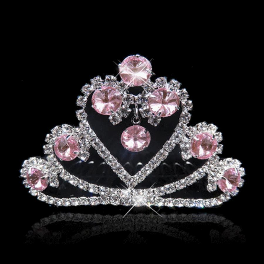 Fonkelende Tiara Kam met Roze Clear Kristallen - Hart-1