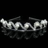 PaCaZa Elegante Tiara / Kroon met Ivoorkleurige Parels  en Fonkelende Kristallen