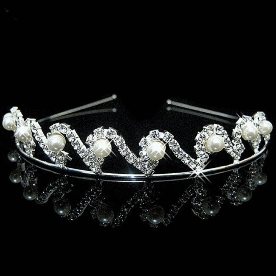 Elegante Tiara / Kroon met Ivoorkleurige Parels  en Fonkelende Kristallen-1