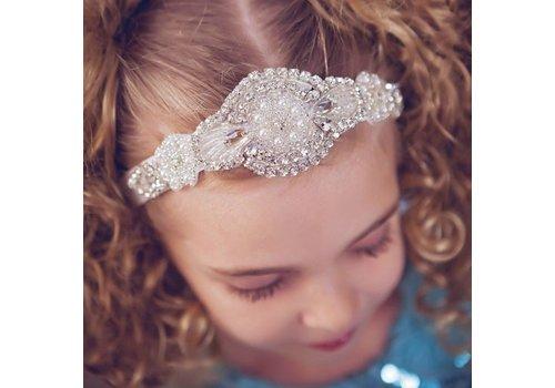 Haarband / Haar Sieraad met Fonkelende Kristallen en Ivoorkleurige Parels