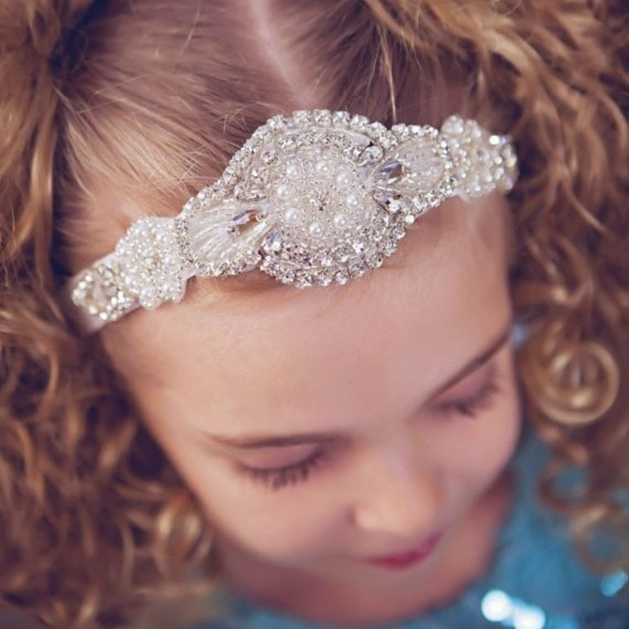 Haarband / Haar Sieraad met Fonkelende Kristallen en Ivoorkleurige Parels-1