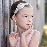 thumb-Haarband / Haar Sieraad met Fonkelende Kristallen en Ivoorkleurige Parels-3