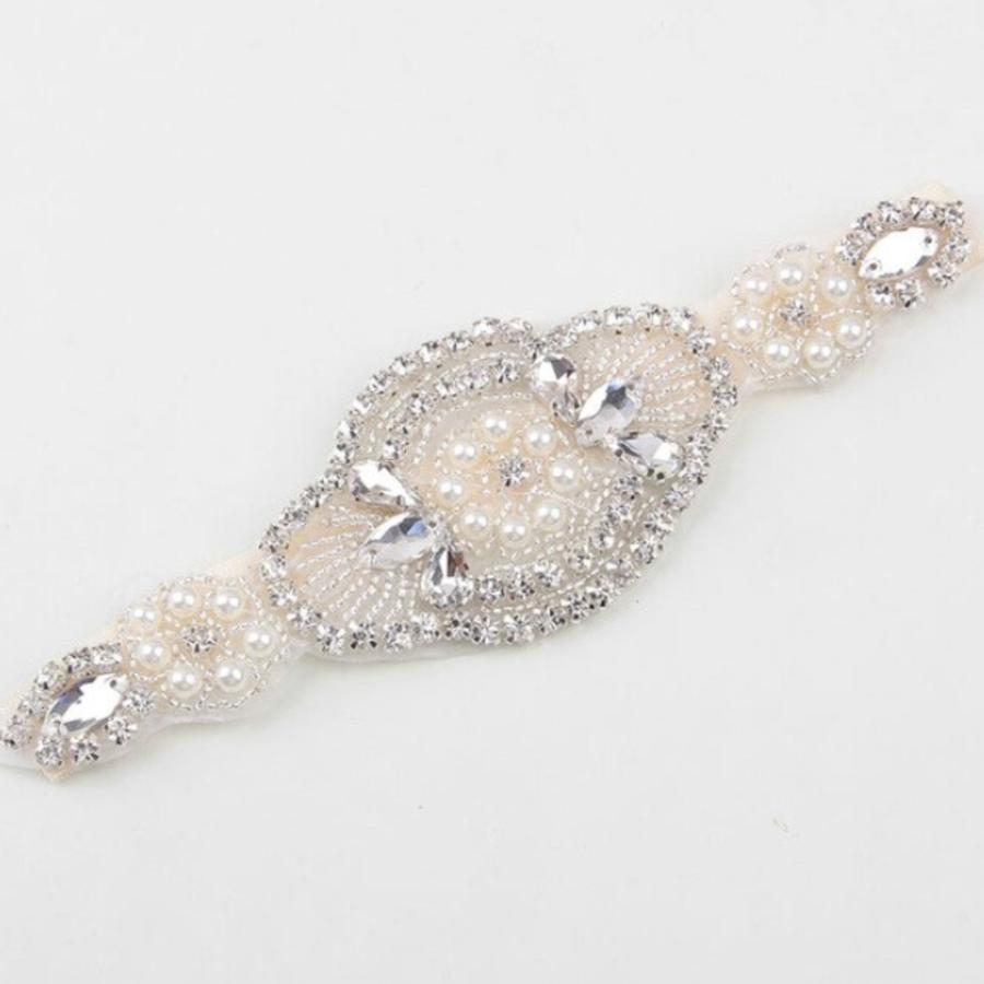 Haarband / Haar Sieraad met Fonkelende Kristallen en Ivoorkleurige Parels-2