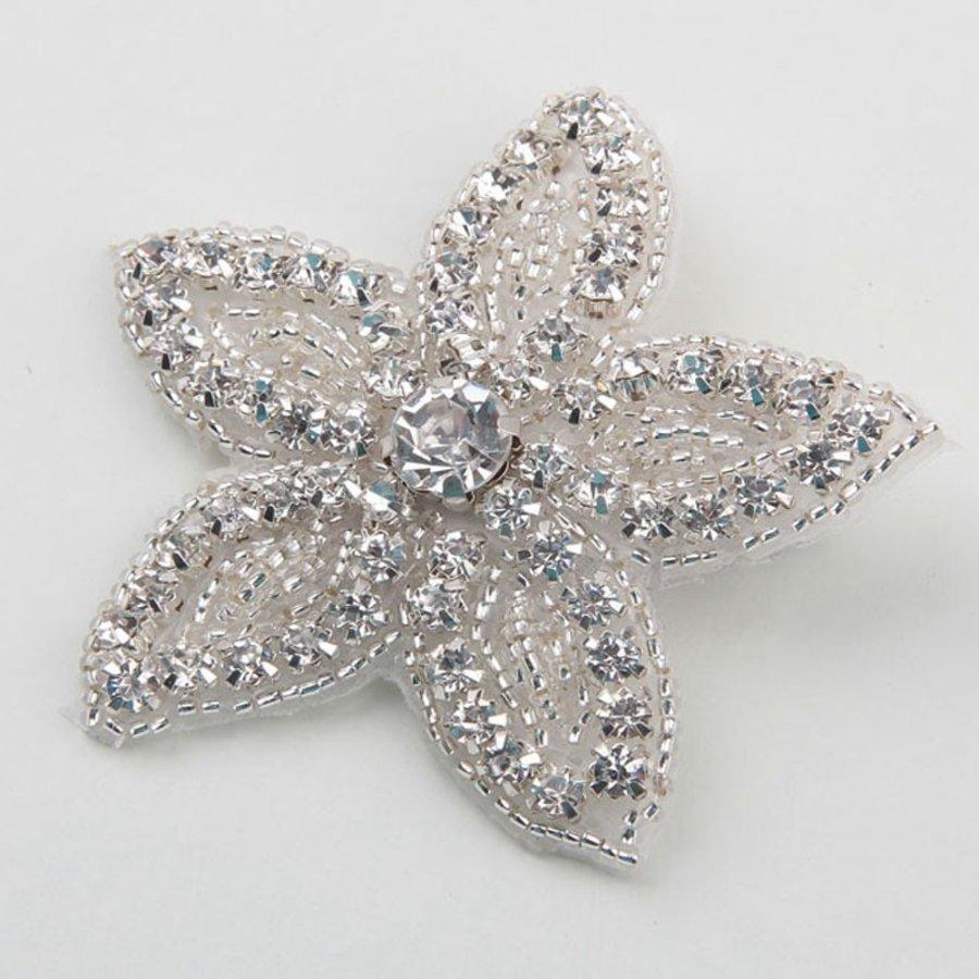 Haarclip Bloem /  Haar Sieraad met Fonkelende Kristallen-3