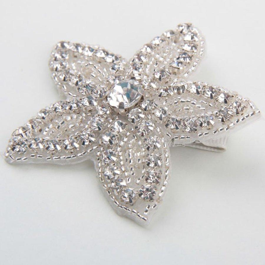Haarclip Bloem /  Haar Sieraad met Fonkelende Kristallen-1