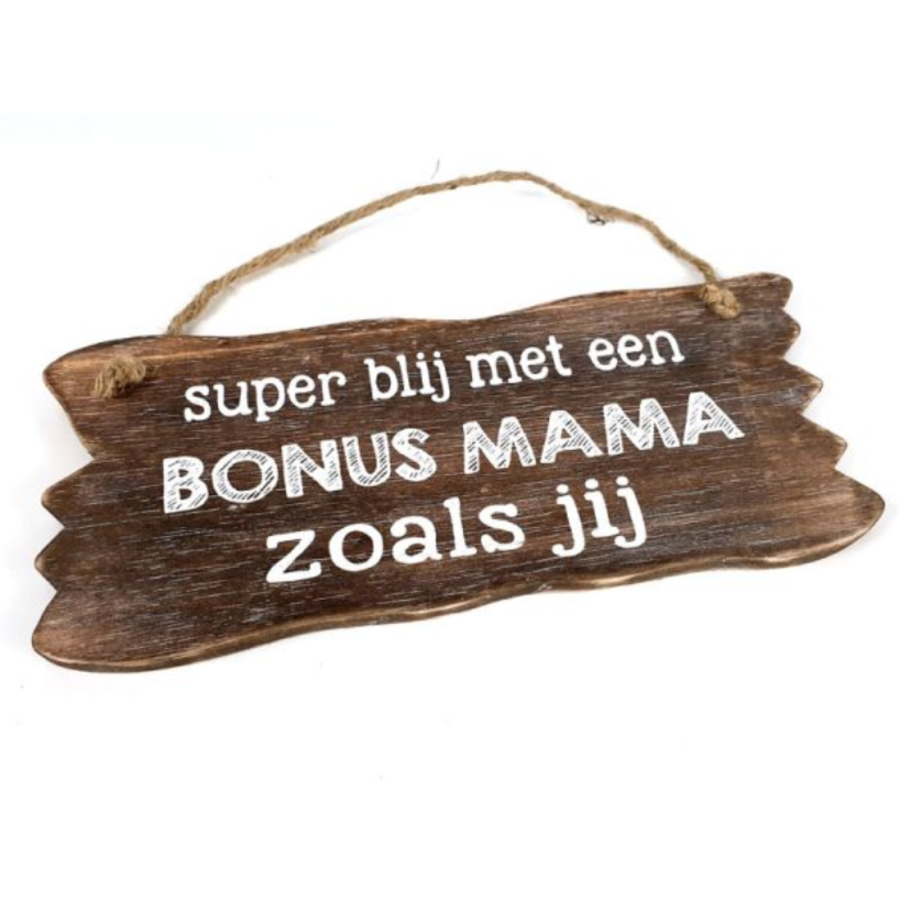 "BonTon - Houten Tekstplank / Tekstbord 12 x 30 cm ""Bonus Mama...."" - Kleur Naturel-1"