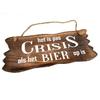 """BonTon BonTon - Houten Tekstplank / Tekstbord 12 x 30 cm """"Het is pas crisis als het Bier op is"""" - Kleur Naturel"""