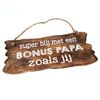 "BonTon Houten Tekstplank / Tekstbord 12x30cm ""Bonus Papa...."" - Kleur Naturel"
