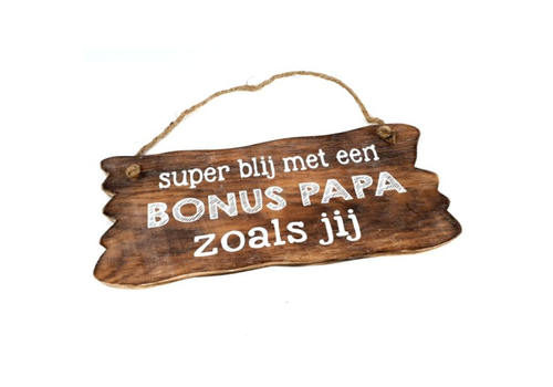 "Houten Tekstplank / Tekstbord 12 x 30 cm ""Bonus Papa...."" - Kleur Naturel"