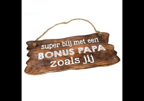"Houten Tekstplank / Tekstbord 12x30cm ""Bonus Papa...."" - Kleur Naturel"