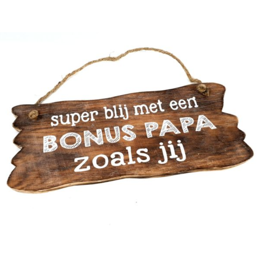 "Houten Tekstplank / Tekstbord 12x30cm ""Bonus Papa...."" - Kleur Naturel-1"