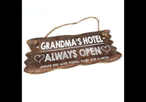 "Houten Tekstplank / Tekstbord 12 x 30 cm ""Grandma's Hotel....Always Open"" - Kleur Naturel"