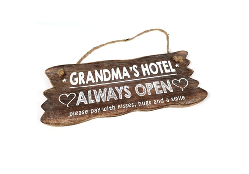 "Houten Tekstplank / Tekstbord 12x30cm ""Grandma's Hotel....Always Open"" - Kleur Naturel"