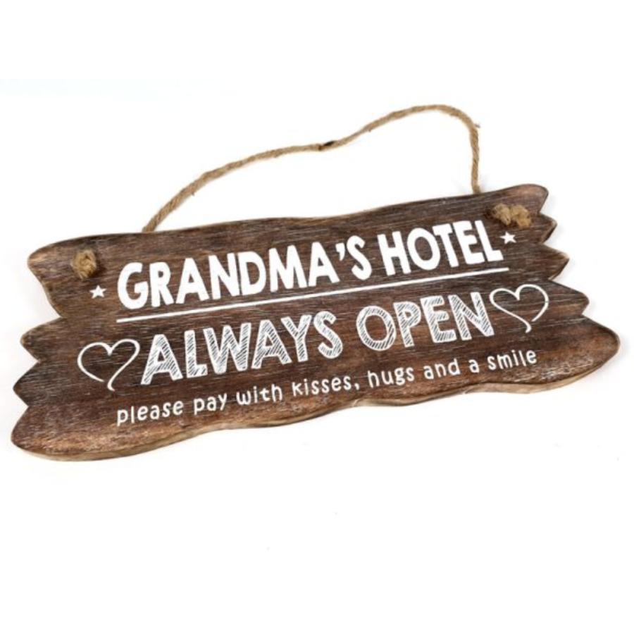 "Houten Tekstplank / Tekstbord 12x30cm ""Grandma's Hotel....Always Open"" - Kleur Naturel-1"