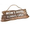"BonTon BonTon - Houten Tekstplank / Tekstbord 12 x 30 cm ""Mom's Hotel....Always Open"" - Kleur Naturel"