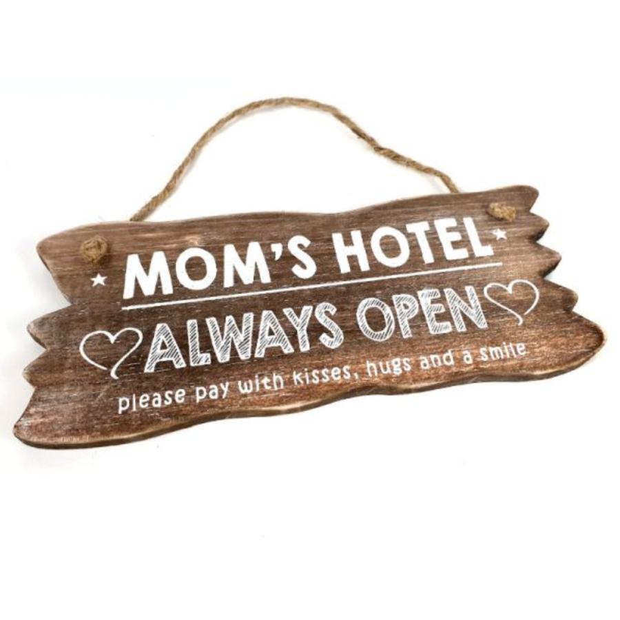"Houten Tekstplank / Tekstbord 12x30cm ""Mom's Hotel....Always Open"" - Kleur Naturel-1"