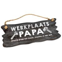 "Houten Tekstplank / Tekstbord 12x30cm ""Werkplaats Papa...."" - Kleur Antique Grey"