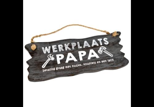 "Houten Tekstplank / Tekstbord 12 x 30 cm ""Werkplaats Papa...."" - Kleur Antique Grey"