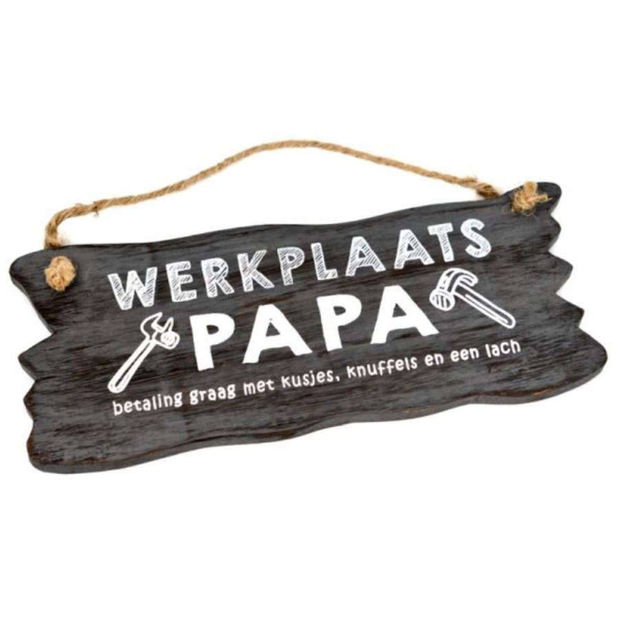 "Houten Tekstplank / Tekstbord 12x30cm ""Werkplaats Papa...."" - Kleur Antique Grey-1"