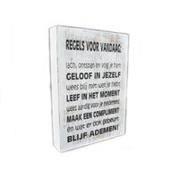 """thumb-Houten Tekstplank / Tekstbord 25X18cm """"Regels voor Vandaag...."""" - Kleur Antique White-2"""