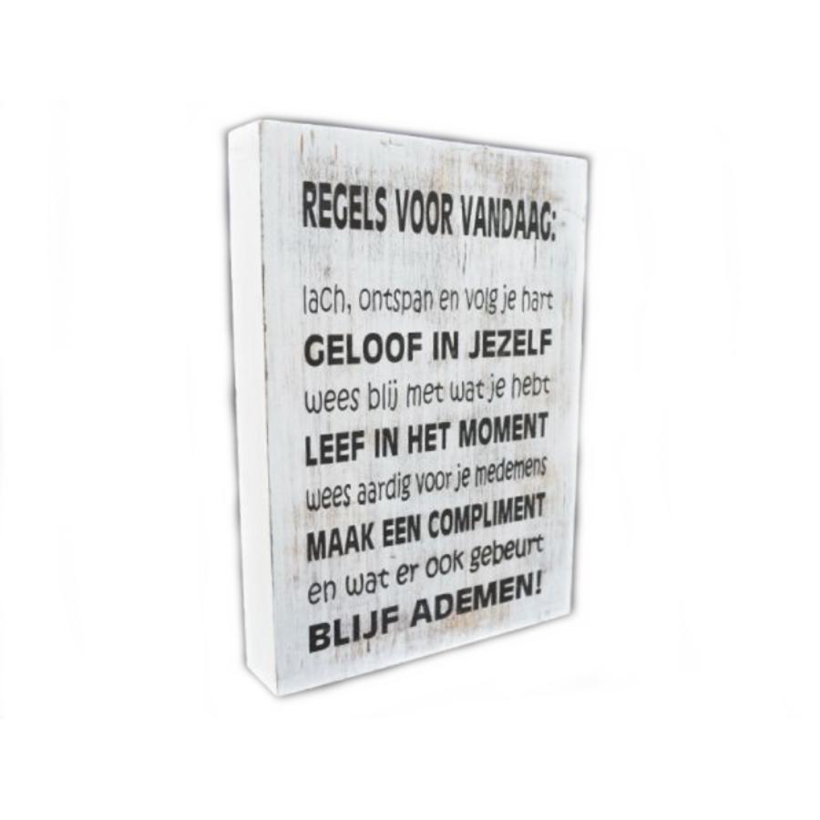 """Houten Tekstplank / Tekstbord 25X18cm """"Regels voor Vandaag...."""" - Kleur Antique White-2"""