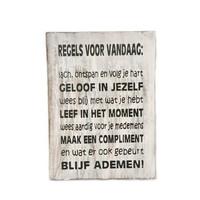 """thumb-Houten Tekstplank / Tekstbord 25X18cm """"Regels voor Vandaag...."""" - Kleur Antique White-1"""