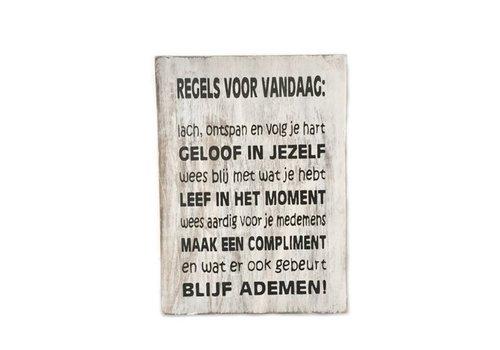 """Houten Tekstplank / Tekstbord 25 x 18 cm """"Regels voor Vandaag...."""" - Kleur Antique White"""