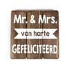 """BonTon Houten Tekstplank / Tekstbord 20cm """"Mr. & Mrs.....Van Harte Gefeliciteerd"""" - Kleur Naturel"""