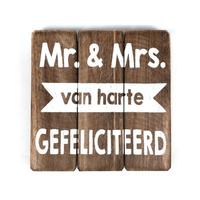 """BonTon - Houten Tekstplank / Tekstbord 20 cm """"Mr - & Mrs.....Van Harte Gefeliciteerd"""" - Kleur Naturel"""