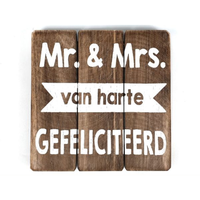 """Houten Tekstplank / Tekstbord 20cm """"Mr. & Mrs.....Van Harte Gefeliciteerd"""" - Kleur Naturel"""
