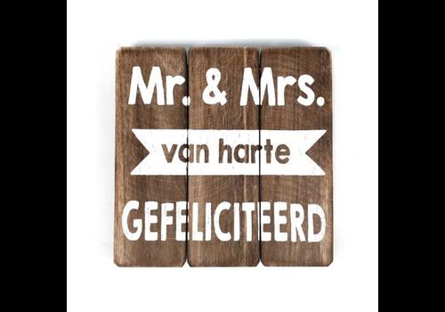 """Houten Tekstplank / Tekstbord 20 cm """"Mr - & Mrs.....Van Harte Gefeliciteerd"""" - Kleur Naturel"""