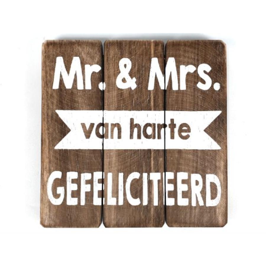 """BonTon - Houten Tekstplank / Tekstbord 20 cm """"Mr - & Mrs.....Van Harte Gefeliciteerd"""" - Kleur Naturel-1"""