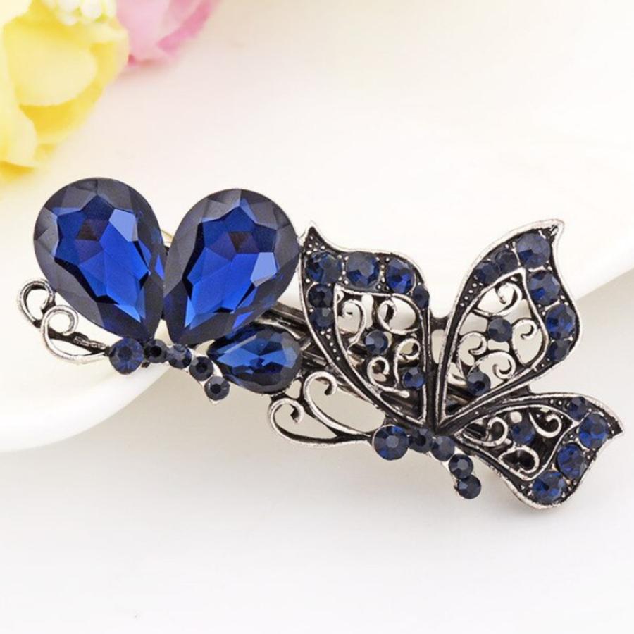 Elegante Haarclip - Butterfly - Donker Blauw-1
