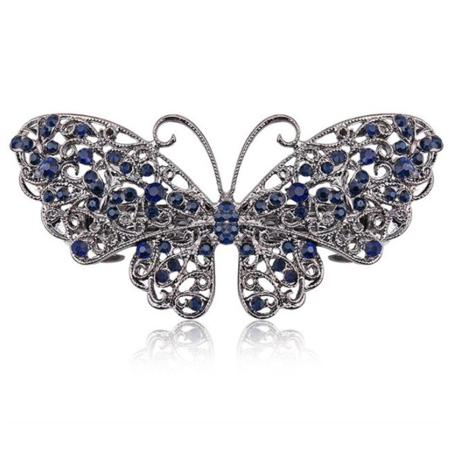 Moderne Haarclip - Butterfly - Donker Blauw-1