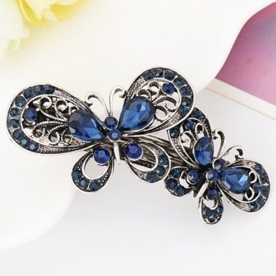 Moderne Haarclip - Vlinders - Donker Blauw-1