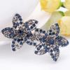 PaCaZa Moderne Haarclip - Bloemen - Donker Blauw