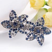 Moderne Haarclip - Bloemen - Donker Blauw