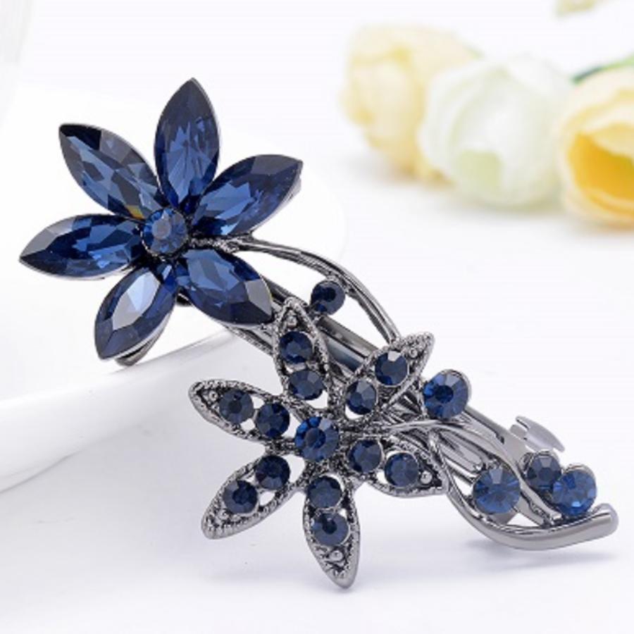 Moderne Haarclip - Flowers - Donker Blauw-1